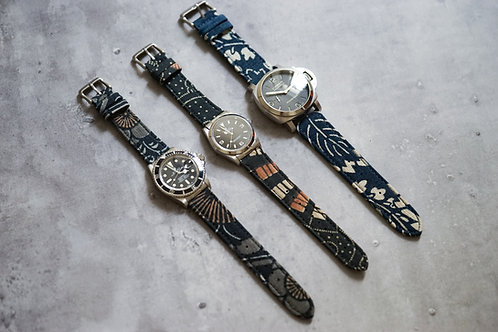 Vintage Katazome Indigo Kofu Watch Strap Premium For Rolex , Apple Watch , Panerai | Simple Union