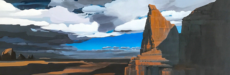 "Artist's Point  12""x36""  arylic on canvas  2017"