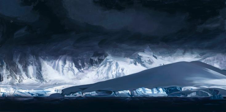 """Glacier, Antarctica  36""""x72""""  arylic on canvas  2018"""