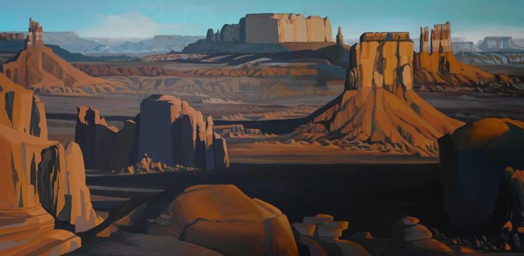 "Hunts Mesa  18""x36""  acrylic on canvas  2019"