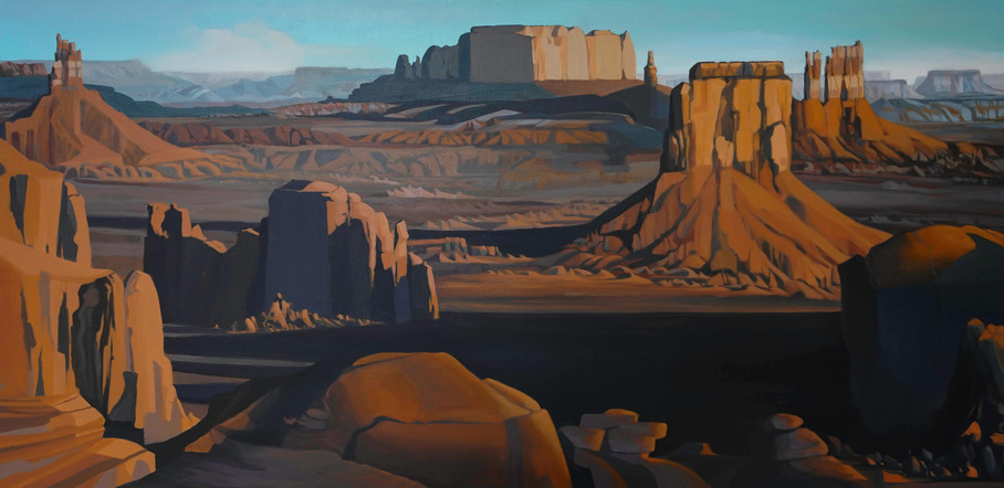 "Hunts Mesa  18""x36""  acrylic on canvas  2019"