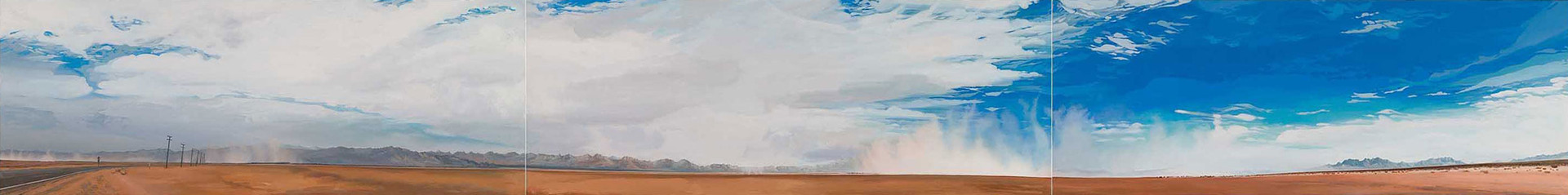 "Sandstorm, Bristol Dry Lake  tryptich  22""x174""  acrylic on canvas   2008"