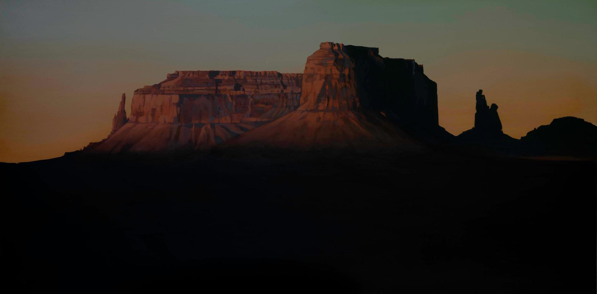 "Eagle Mesa, Gloaming  18""x36""  acrylic on panel  2019"