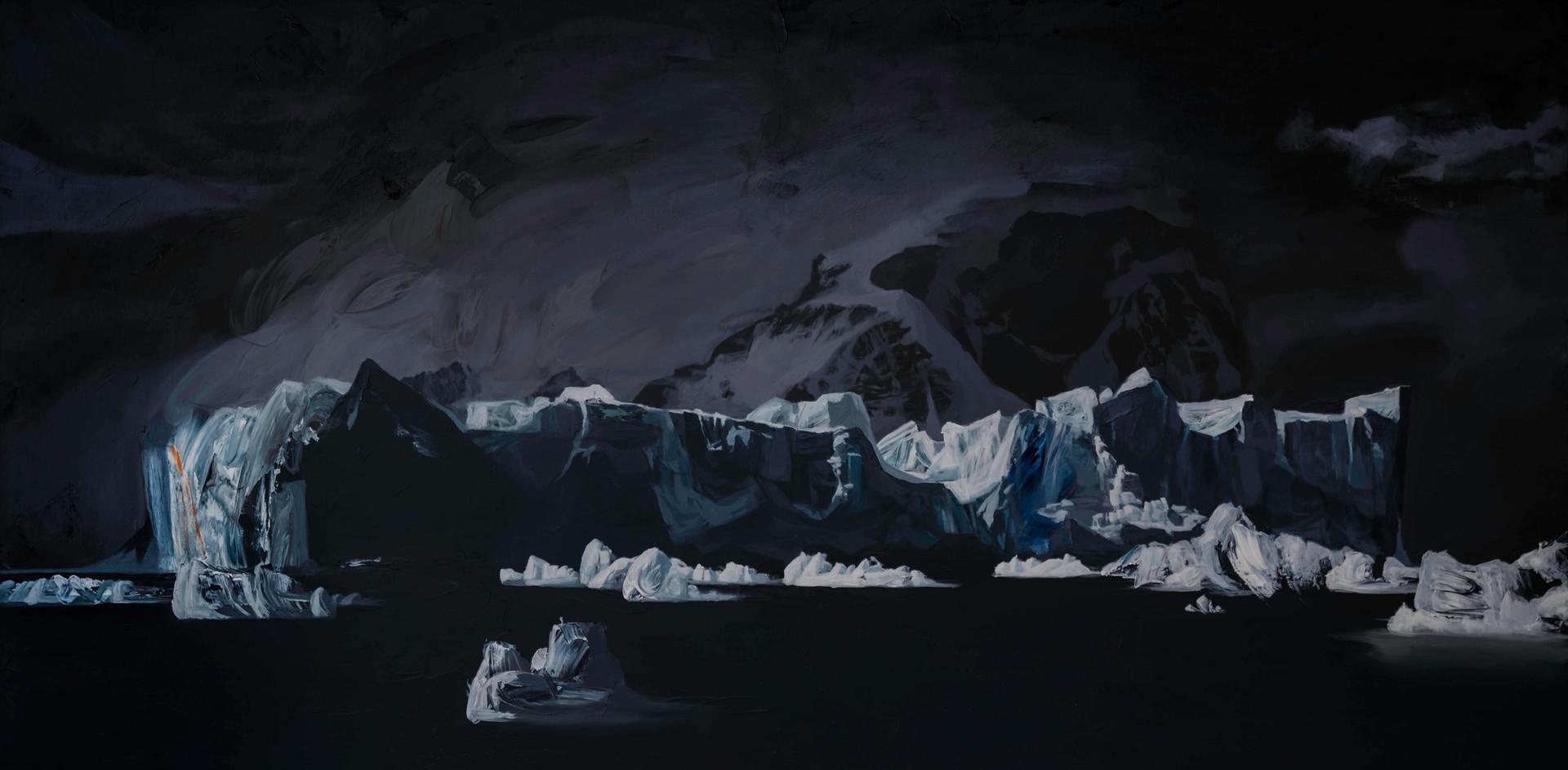 "Iceberg, Andvord Bay, Antarctica  36""x72""  acrylic on canvas  2018"
