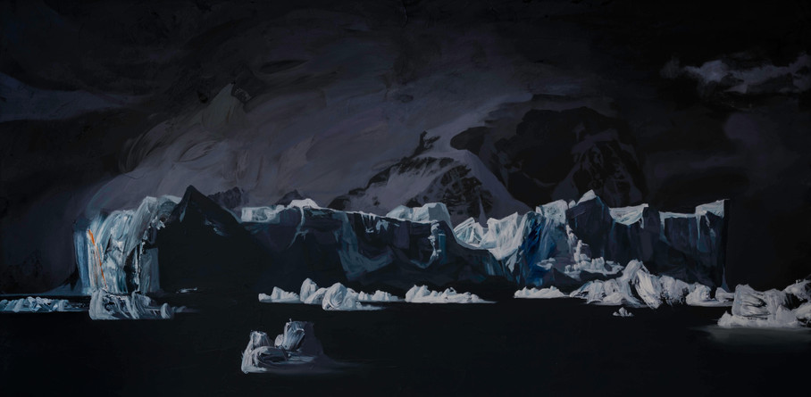 "Iceberg, Andvord Bay, Antarctica  36""x72""  acrylic on canvas  2018"