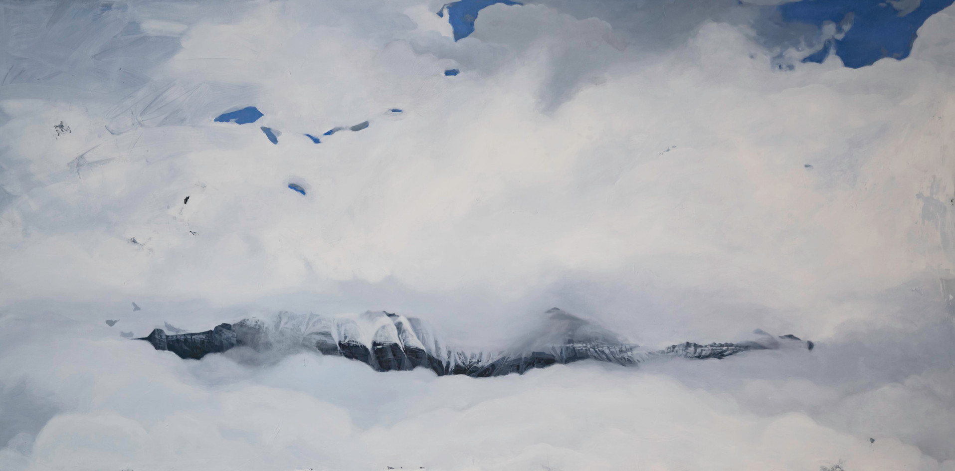 "Telluride Whiteout  36""x72""  acrylic on canvas  2018"
