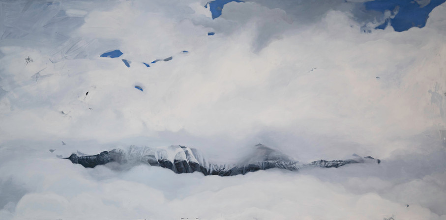 "Telluride Whiteout  36""x72""  acrylic on canvas  2018"