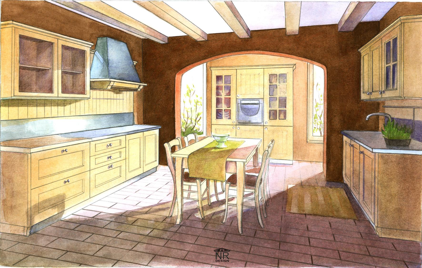 Кухня (бум., акварель)
