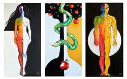 "Триптих ""Адам и Ева"". Холст, масло."