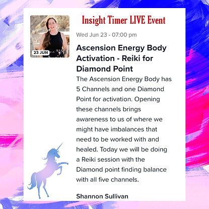Insight Timer Live Event Ascension Energy Body Reiki for Diamond Point