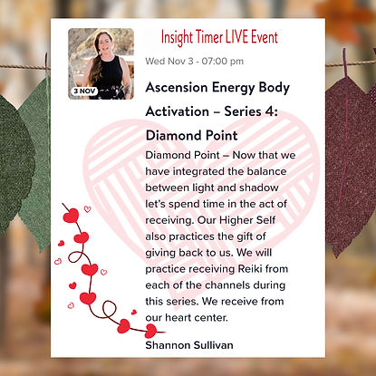 Insight Timer Live Event with Shannon Sullivan Ascension Energy Body Series Four Diamond Point Reiki