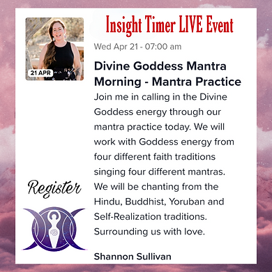 Insight Timer Live event hosted by Shannon Sullivan singing mantras