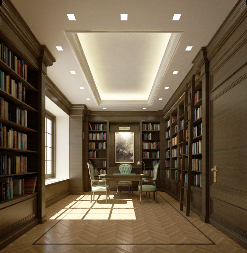 home office and library room design