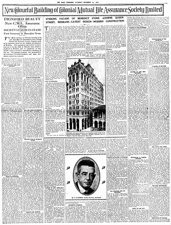 Colonial Mutual Life | Daily Standard, 1931