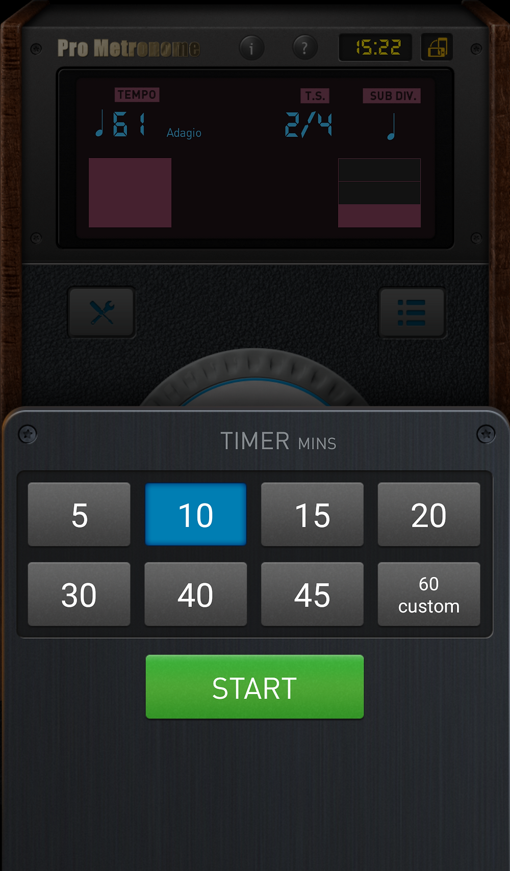 Pro Metronome has its own built-in timer