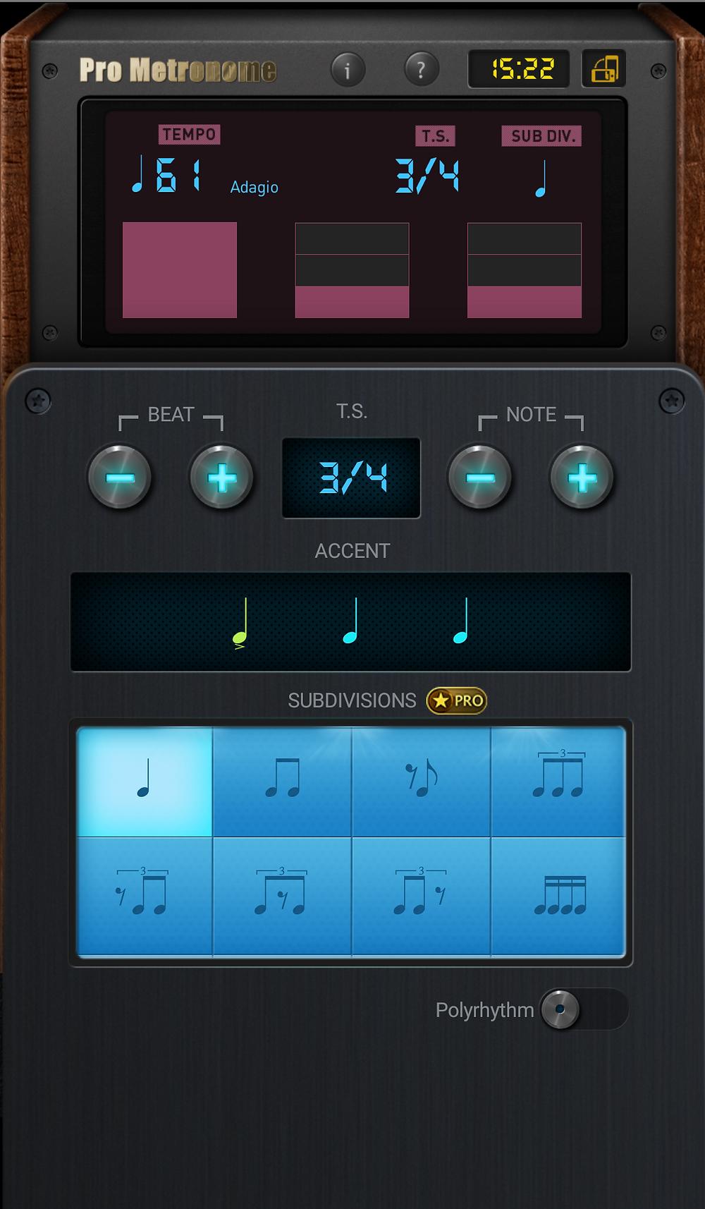 Pro Metronome App: Time Signature Options