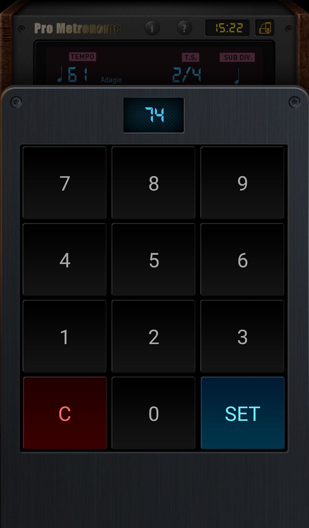 Pro Metronome choose your tempo