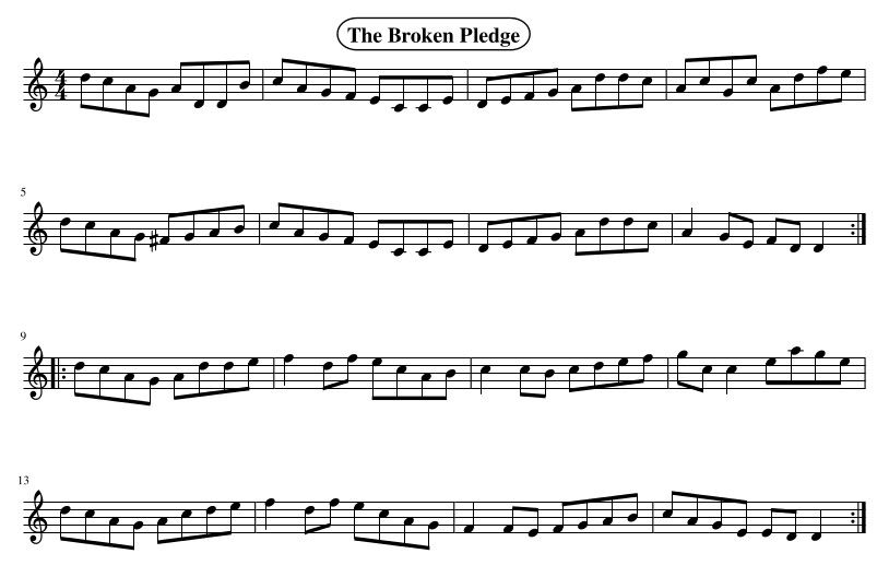The Broken Pledge is a great fiddle tune - a bit harder on flute if you don't have keys!