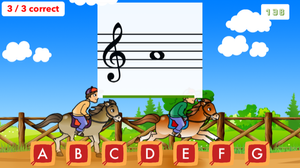 Flashnote Derby, a note-learning app.