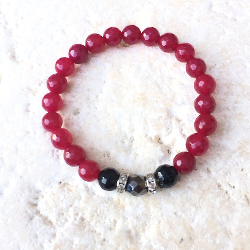 Faceted pink Jade, Pyrite & Onyx with crystal spacers bracelet