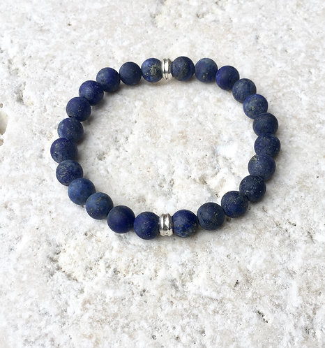 Lapis with silver brass accents