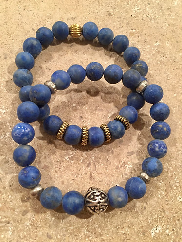 Matte Lapis with silver or gold tone brass spacers