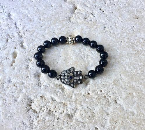 Onyx with crystal Hamza bracelet