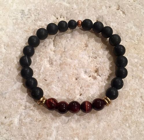 Onyx and Red Tigers Eye Bracelet with Brass spacers