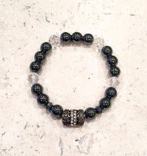 Hematite & Crystal with pave bar
