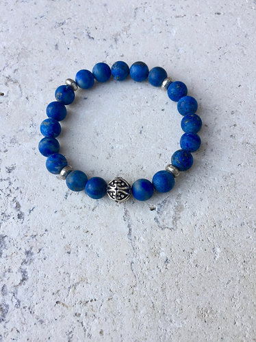 Lapis Bracelet with Brass Spacers and Tibetan  ball