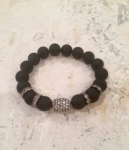Matte Onyx with Pave Ball and spacers bracelet