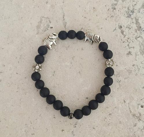 Elephant Charm Bracelet with Onyx