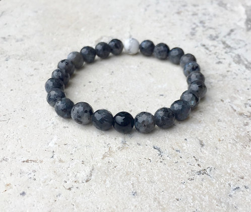 Faceted Black Labadorite with Onyx and Howlite accent bracelet