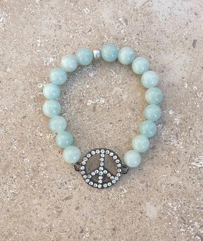 Jade Bracelet with Pave Peace Sign