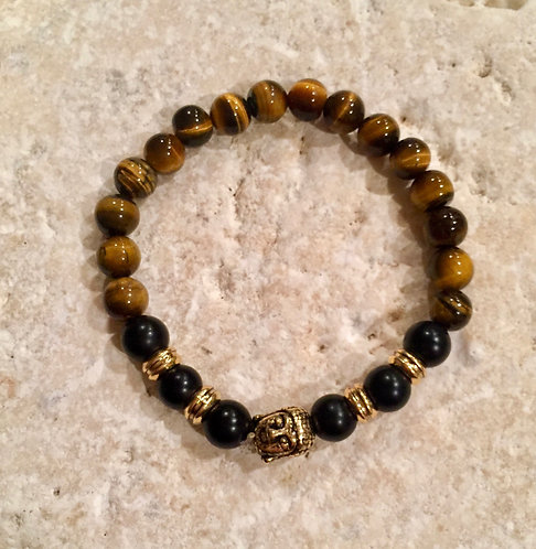 Tigers Eye and Onyx Bracelet with Brass spacers and Buddha