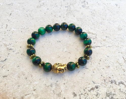 Green Tigers Eye with brass spacers and Buddha