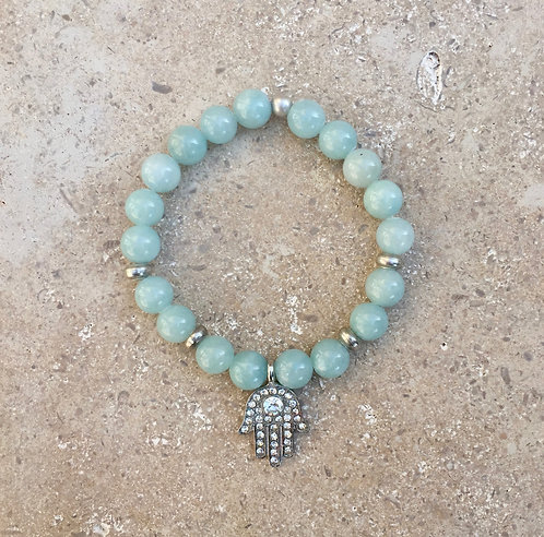 Jade Bracelet with brass and Pave Hamza