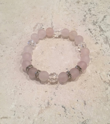 Rose Quartz with pave spacers and crystal ball bracelet