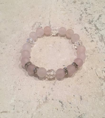 Rose Quartz with Crystal Ball Bracelet