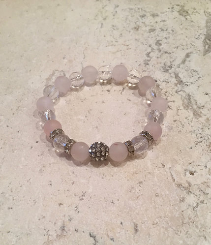 Rose Quartz with Pave Ball and Crystals