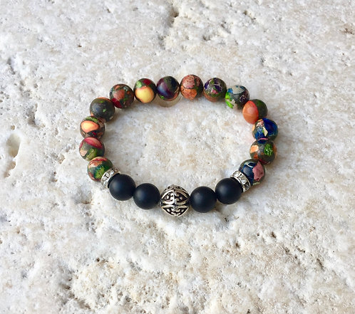 Jasper and Onyx Bracelet with tibetan bead and pave spacers