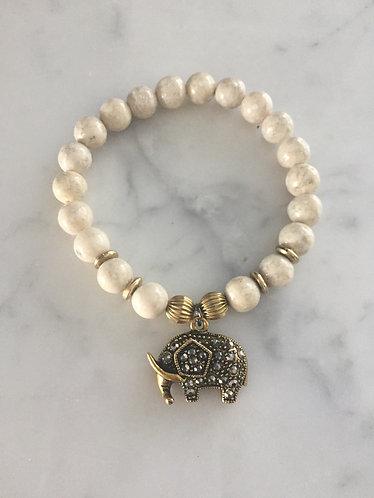 Elephant Charm Bracelet with Riverstone