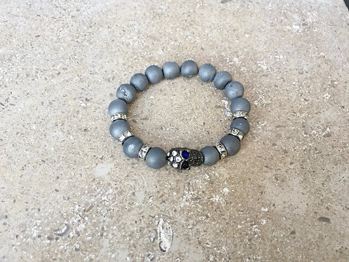 Silver Druzy, pave spacers and skull bracelet