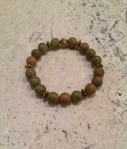 Unakite with brass accents bracelet