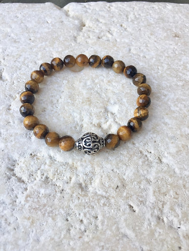 Tigers Eye with Tibetan bead accent