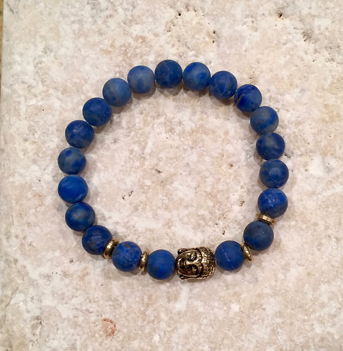 Lapis Bracelet with Brass spacers and Buddha