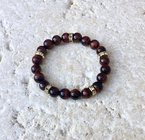 Red Tigers Eye with crystal spacers bracelet