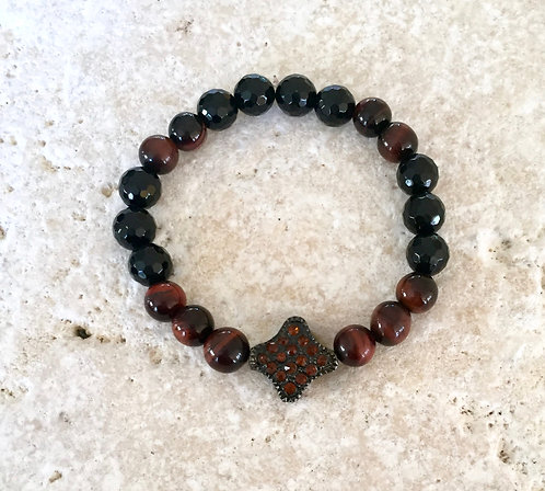 Red Tigers Eye and Faceted Onyx with matching pave spacer
