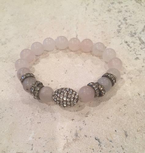 Rose Quartz with Pave Ball Bracelet