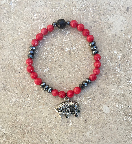 Elephant Charm Bracelet with coral and faceted hematite